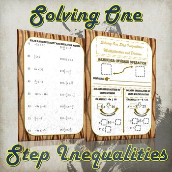 Solving One Step Inequalities- Multiplication & Division (Notes and Practice)