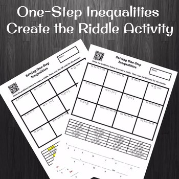 Solving One-Step Inequalities (No Negatives) Create the Riddle Activity
