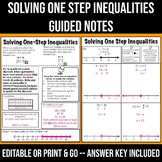 Solving One Step Inequalities Guided Note Page or Exit Tic