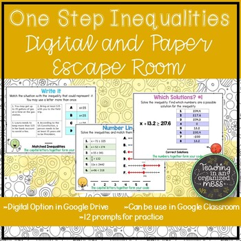 Solving One Step Inequalities Paper and Digital Math Escape Room