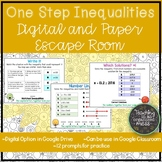 Solving One Step Inequalities Paper and Digital Escape Room   Distance Learning