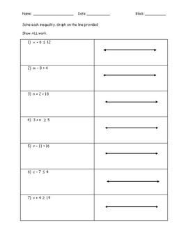 Solving One Step Inequalities Quiz with Addition and Subtraction - Key Included