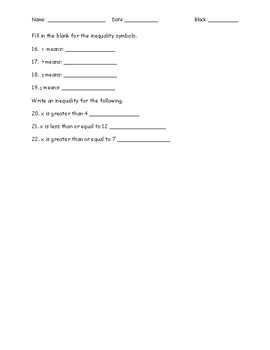 One Step Inequalities Quiz with Addition and Subtraction - Key Included