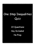 One Step Inequalities Quiz with Addition and Subtraction -