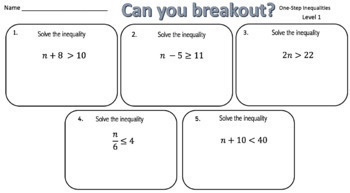 Solving One-Step Inequalities – Two Breakout Activities!