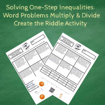 Solving One-Step Inequalities Word Problems Create the Riddle