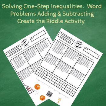Solving One-Step Inequalities Word Problems Create the Riddle Activity