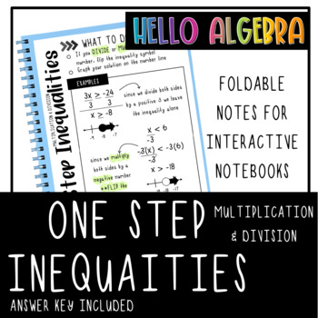 Solving One Step Inequalities using Multiplication and Division INB Foldable