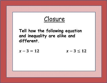 Solving One-Step Inequalities with Addition and Subtraction Lesson