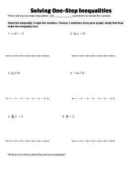 Solving One-Step Inequality Notes