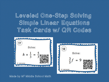 Solving One-Step Linear Equations QR Code Task Cards