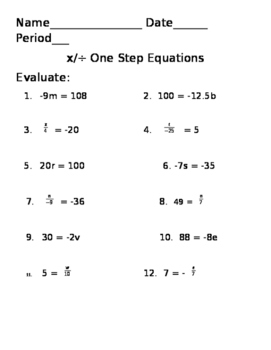 Solving One Step Multiplying and Dividing Equations
