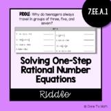Solving One Step Rational Number Equations | Riddle Worksheet