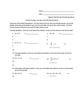 Solving One Step Two Step and Multi Step Equations Assessment