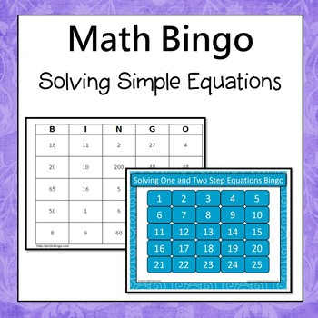 Two Step Equation Bingo Teaching Resources | Teachers Pay Teachers
