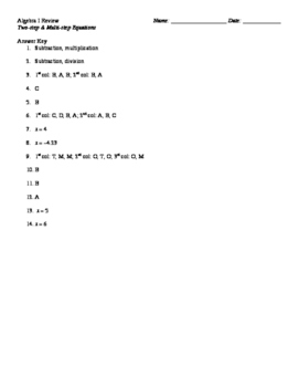 Solving One, Two, & Multi-step equations