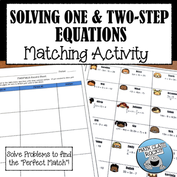 "SOLVING ONE AND TWO-STEP EQUATIONS -  ""MATH MATCH"" CUT & PASTE ACTIVITY"