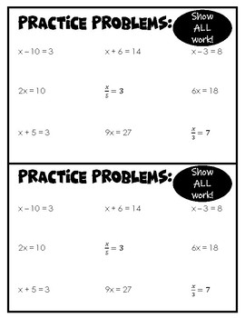 Solving One & Two-Step Equations Note Pages w/ Practice Problems
