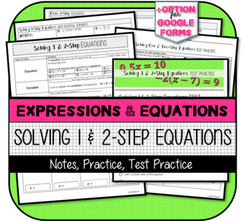 Solving One- & Two-Step Equations with Rational Numbers (Notes & Practice)