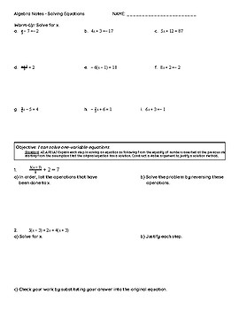 Solving One-Variable Equations Notes