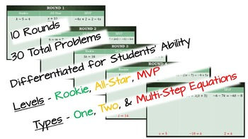 Solving One-Variable Equations Practice - Rookie, All-Star, MVP (RAM)