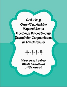 Solving Equations having Fractions Graphic Organizer & Problems