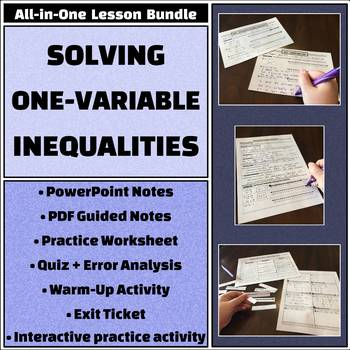 Solving One Variable Inequalities All In One Bundle Activities