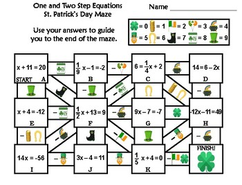 Solving One and Two Step Equations Activity: St. Patrick's Day Math Maze