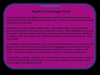 Solving One and Two Step Equations: Algebra Scavenger Hunt (Math grades 6-8)