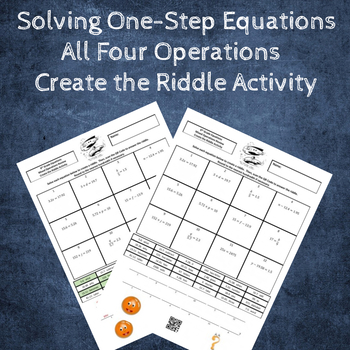 Solving One-Step Equations Create a Riddle Activity - All 4 Operations