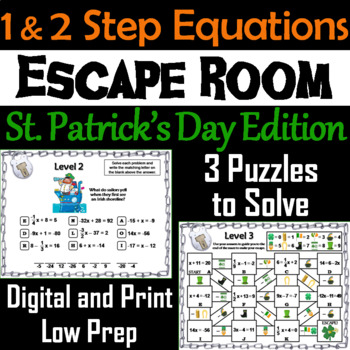 Solving One and Two Step Equations: Escape Room St. Patrick's Day Math Activity