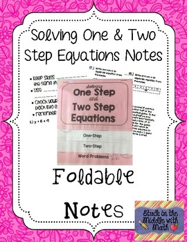 Solving One and Two Step Equations Foldable