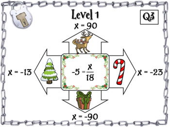Solving One and Two Step Equations Game: Escape Room Christmas Math Activity