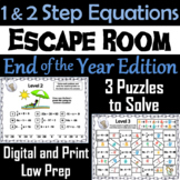 Solving One and Two Step Equations Game: Escape Room End of Year Math Activity