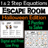 Solving One and Two Step Equations Game: Escape Room Halloween Math Activity