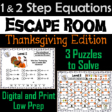 Solving One and Two Step Equations Game: Escape Room Thanksgiving Math Activity