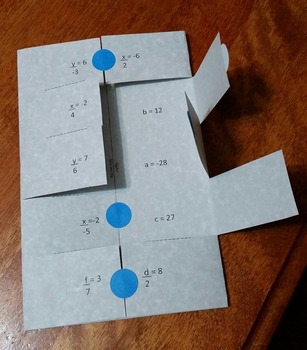"""Solving One and Two Step Equations """"Solve and Flip"""" Algebra Activity and Game"""
