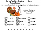 Solving One and Two Step Equations Thanksgiving Math Activity: Message Decoder
