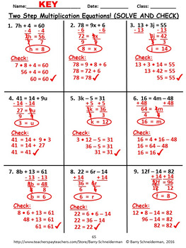Solving One and Two Step Equations Unit: All Operations and Word Problems
