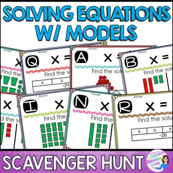 Solving One and Two Step Equations Using Various Models - Scavenger Hunt