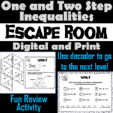 Solving One and Two Step Inequalities Game: Algebra Escape Room Math Activity