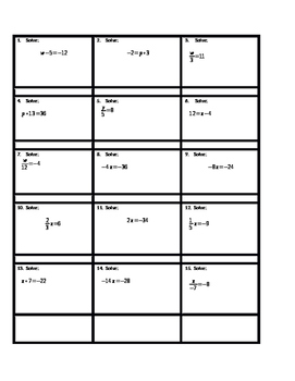 Solving One-step Equations Activity