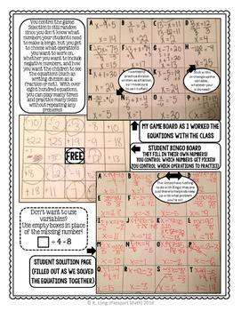 Solving One-step Equations Bingo