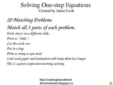 Solving One-step Equations Matching Game