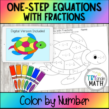 Color by Number Turtle  Solving One step Equations with Fractions