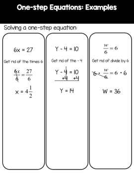 Solving One-step and Two-step Equations Mini Unit