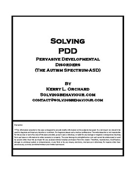 Solving PDD (including Autism Spectrum Disorder)