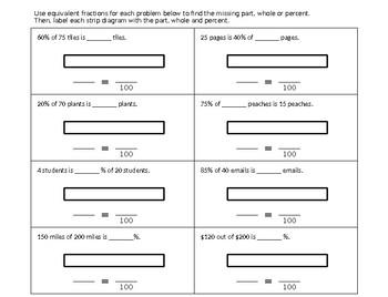 Solving Percent Problems – Comparing Strip Diagrams