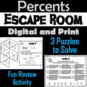 Solving Percent of a Number Game: Escape Room Math (Percent Proportion Activity)