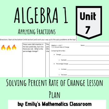 Solving Percent Rate of Change Lesson Plan